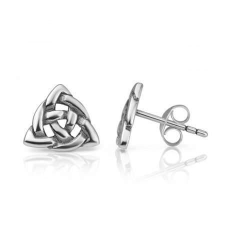 Sterling Trinity Triangle Triquetra Earrings