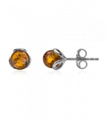 Amber Sterling Silver Small Earrings