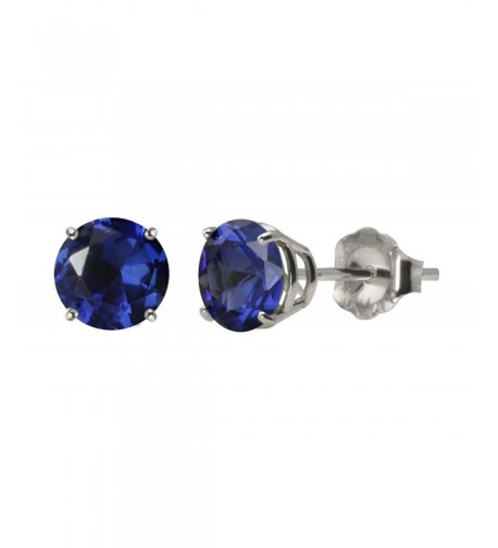 White Created Sapphire 4 Prong Earrings