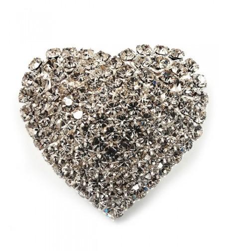 Clear Diamante Heart Brooch Silver
