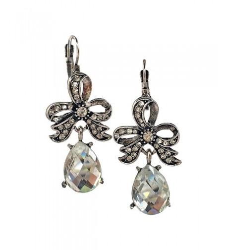 Ribbon Rhinestone Tear Fashion Earrings