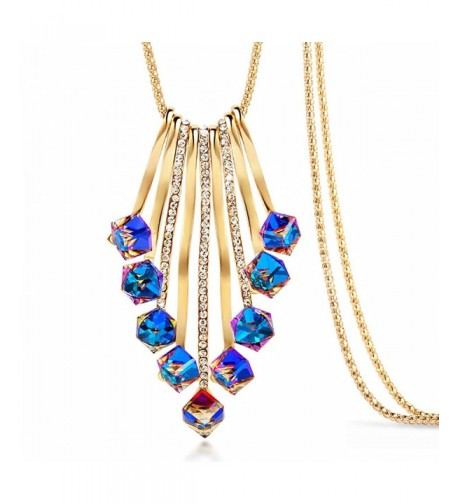Merdia Necklace Sweater Crystals Colorful