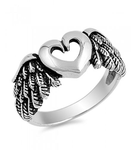 Cutout Heart Angel Sterling Silver
