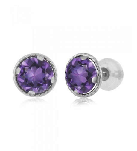 Purple Amethyst Gemstone Birthstone Earrings