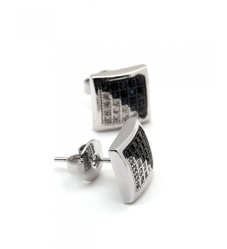 Large Square White Zircon Earrings