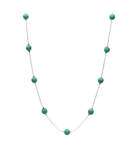 Simulated Turquoise Illusion Sterling Necklace