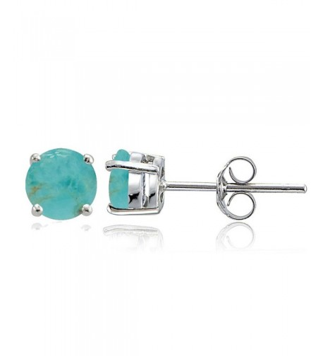 Sterling Simulated Turquoise Prong Set Earrings