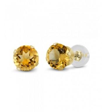 0 52 Round Yellow Citrine Earrings