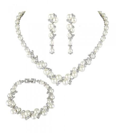 EVER FAITH Simulated Necklace Earrings