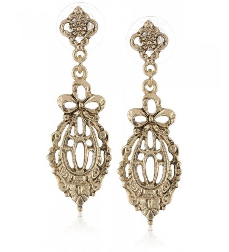 Downton Abbey Gold Tone Filigree Earrings