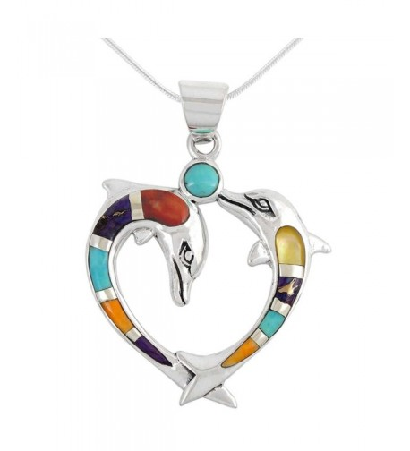 Dolphin Necklace Sterling Turquoise Gemstones