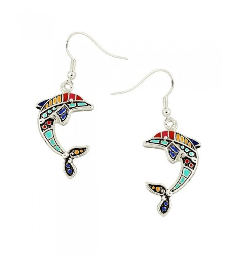 Liavys Multi Color Dolphin Fashionable Earrings