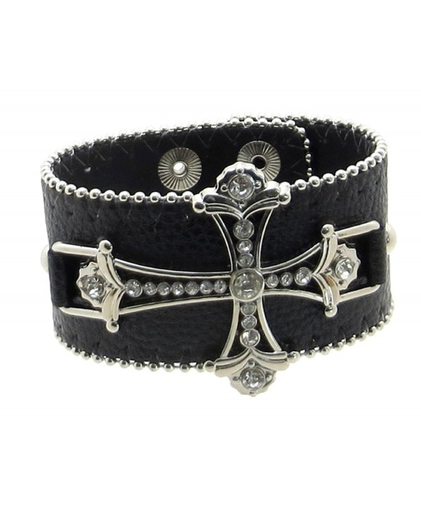 Leather Bracelet Rhinestone Cross Beading
