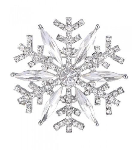 EVER FAITH Silver Tone Austrian Snowflake