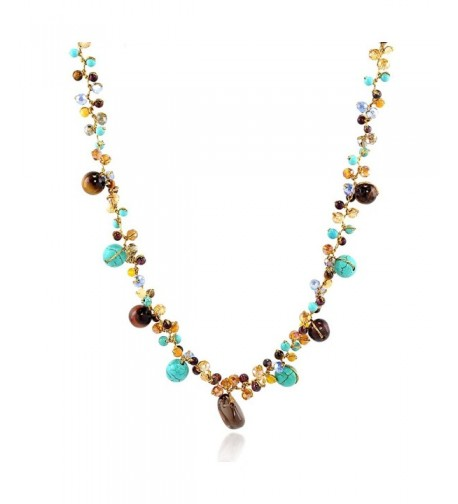 Stone Crystal Cluster Necklace inches