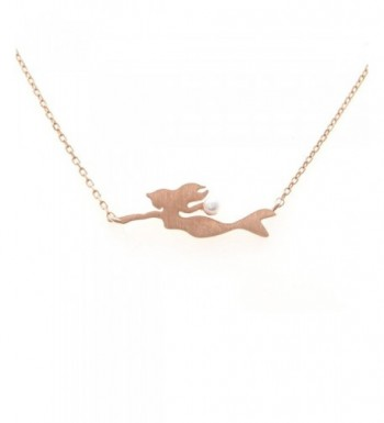 LAONATO Sterling Mermaid Necklace RoseGold