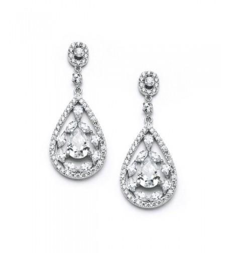 Mariell Zirconia Teardrop Wedding Earrings