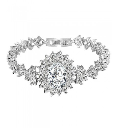 EVER FAITH Zirconia Bracelet Silver Tone