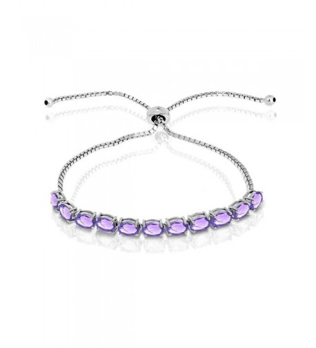 Sterling Amethyst Oval cut Adjustable Bracelet