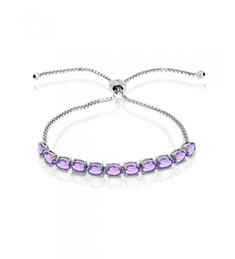 Sterling Amethyst Oval cut Adjustable Bracelet