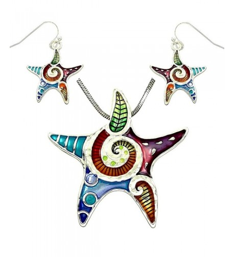 DianaL Boutique Colorful Enameled Starfish
