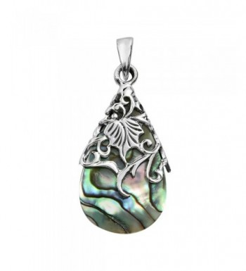 Vintage Adorned Abalone Teardrop Sterling