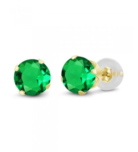 Round Green Emerald Yellow Earrings