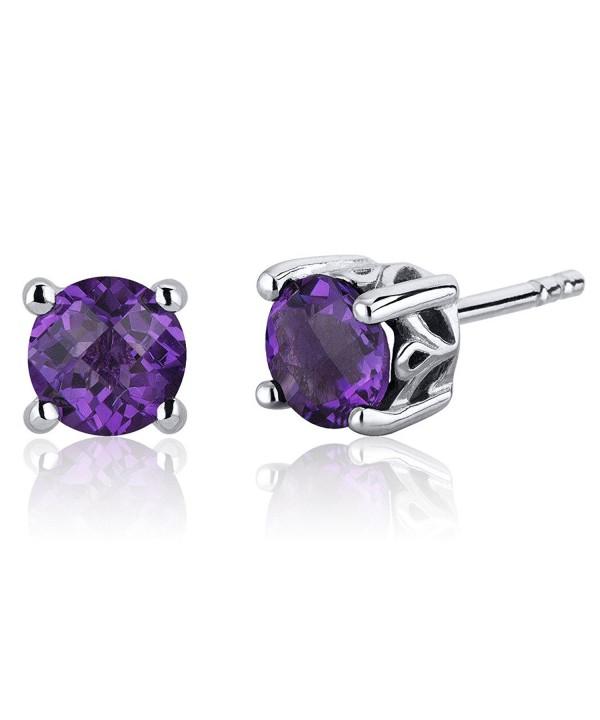 Scroll Design Amethyst Earrings Sterling