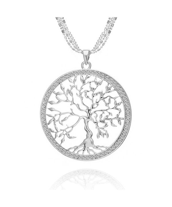 Classy Silver Crystal Pendant Necklace