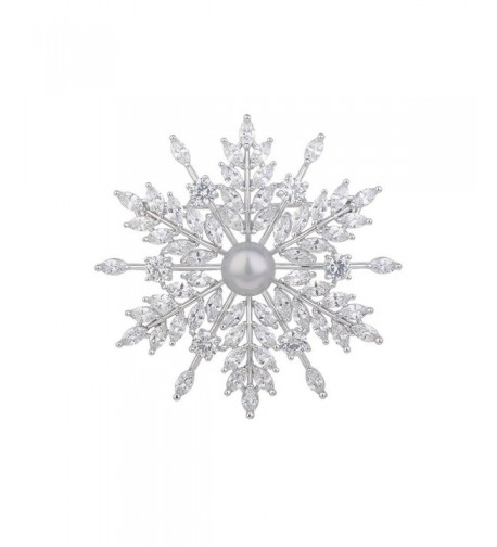Fashion Classic Silver Plated Snowflake Brooches