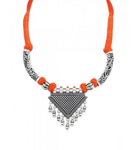 Sansar India Oxidized Triangle Necklace