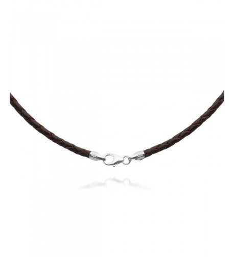 Braided Leather Necklace Choker Sterling