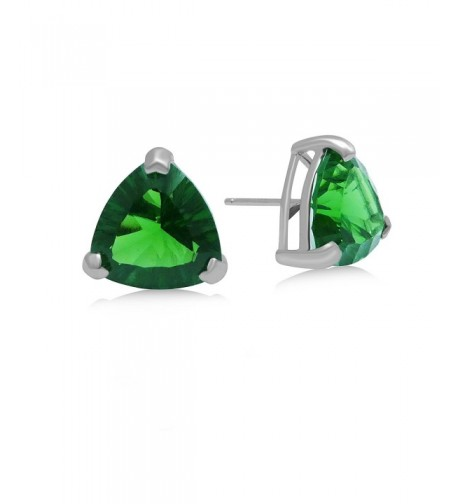 Helenite Triangle Gemstone Stud Earrings