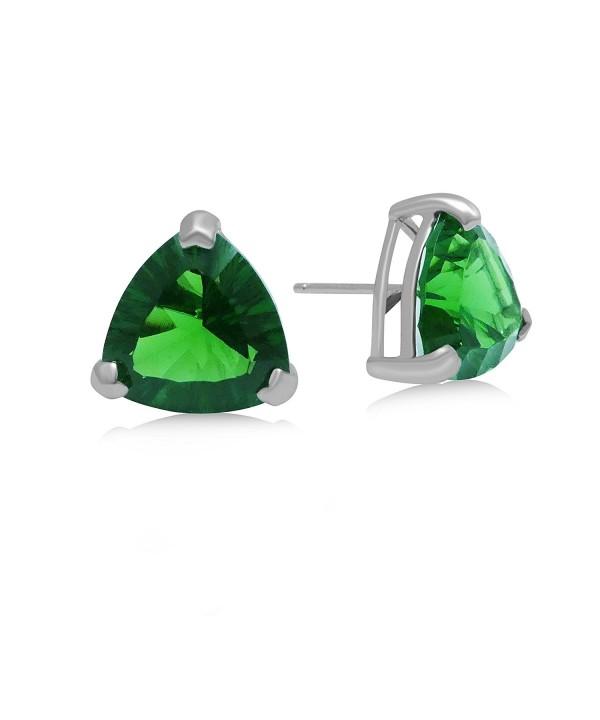 Helenite Triangle Gemstone Stud Earrings