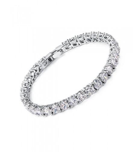 Neoglory Platinum Round cut Zirconia Bracelet