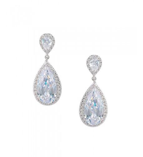 EVER FAITH Zirconia Earrings Silver Tone