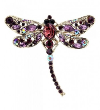 EVER FAITH Gold Tone Rhinestone Dragonfly
