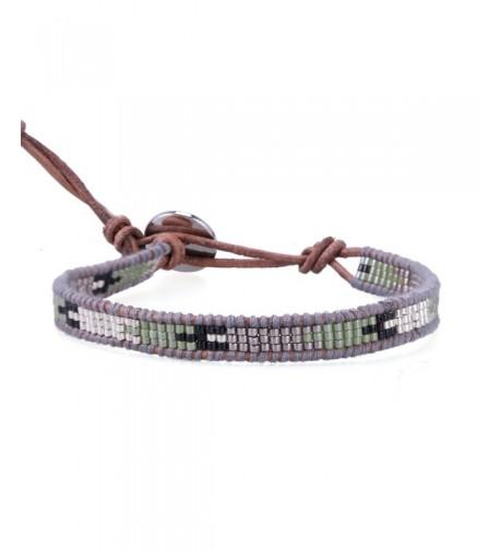 KELITCH Beaded Handmade Leather Bracelet