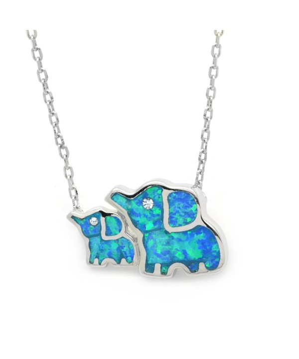 Created Elephant Necklace Sterling 17 inches