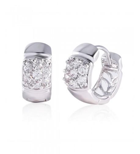 GULICX Silver Zirconia Crystal Earrings