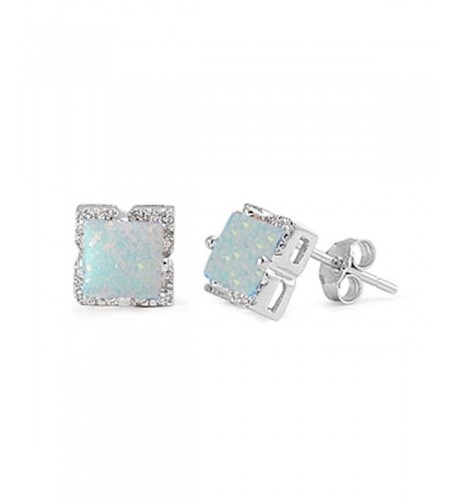 Earring Princess Square Created Sterling