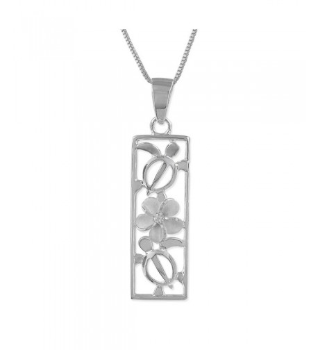 Sterling Silver Plumeria Vertical Necklace