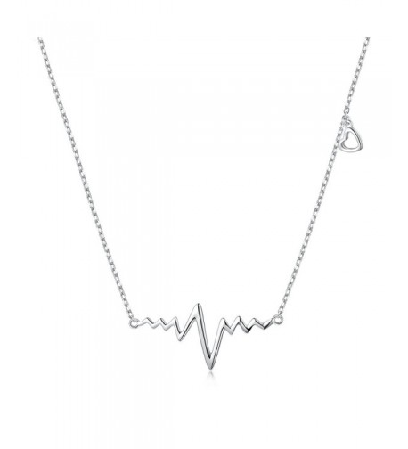 Sterling Silver Heartbeat Heart Necklace