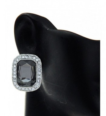 Rectangular Gemstone Fashion Earrings Silver Tone