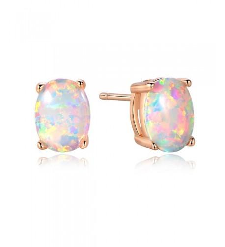 GEMSME Created Earrings rose gold plated base created opal