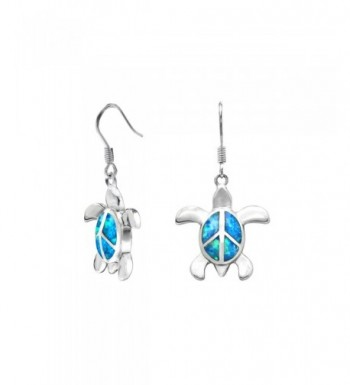 Sterling Silver Turtle Earrings Simulated