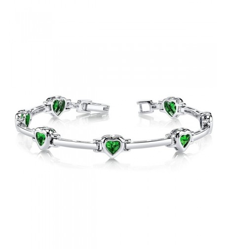 Simulated Emerald Bracelet Sterling Rhodium