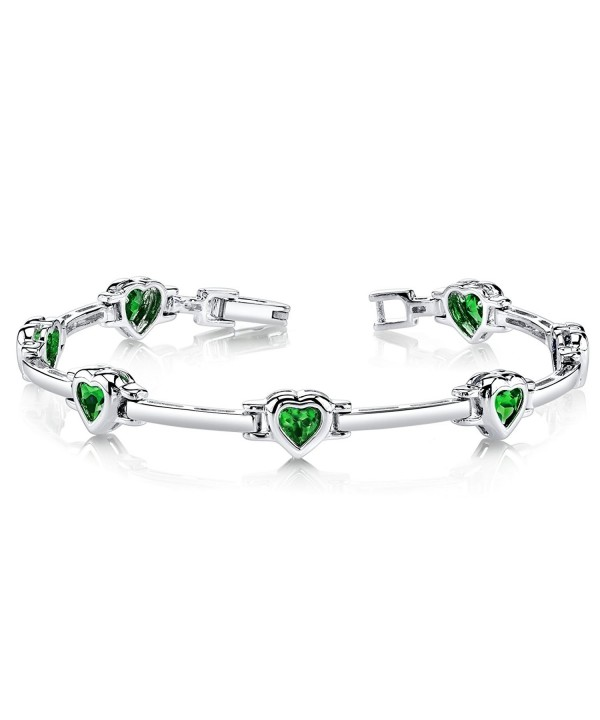 Simulated Emerald Bracelet Sterling Rhodium