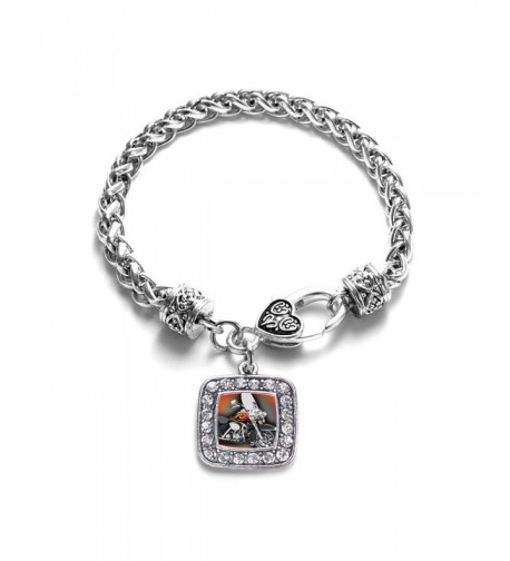 Motorcycle Classic Silver Crystal Bracelet