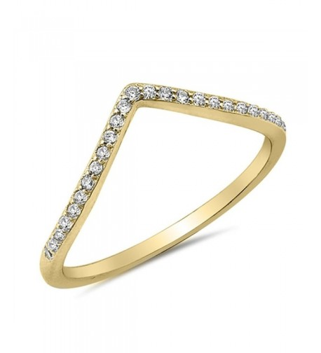 Gold Tone Chevron Stackable Sterling Silver